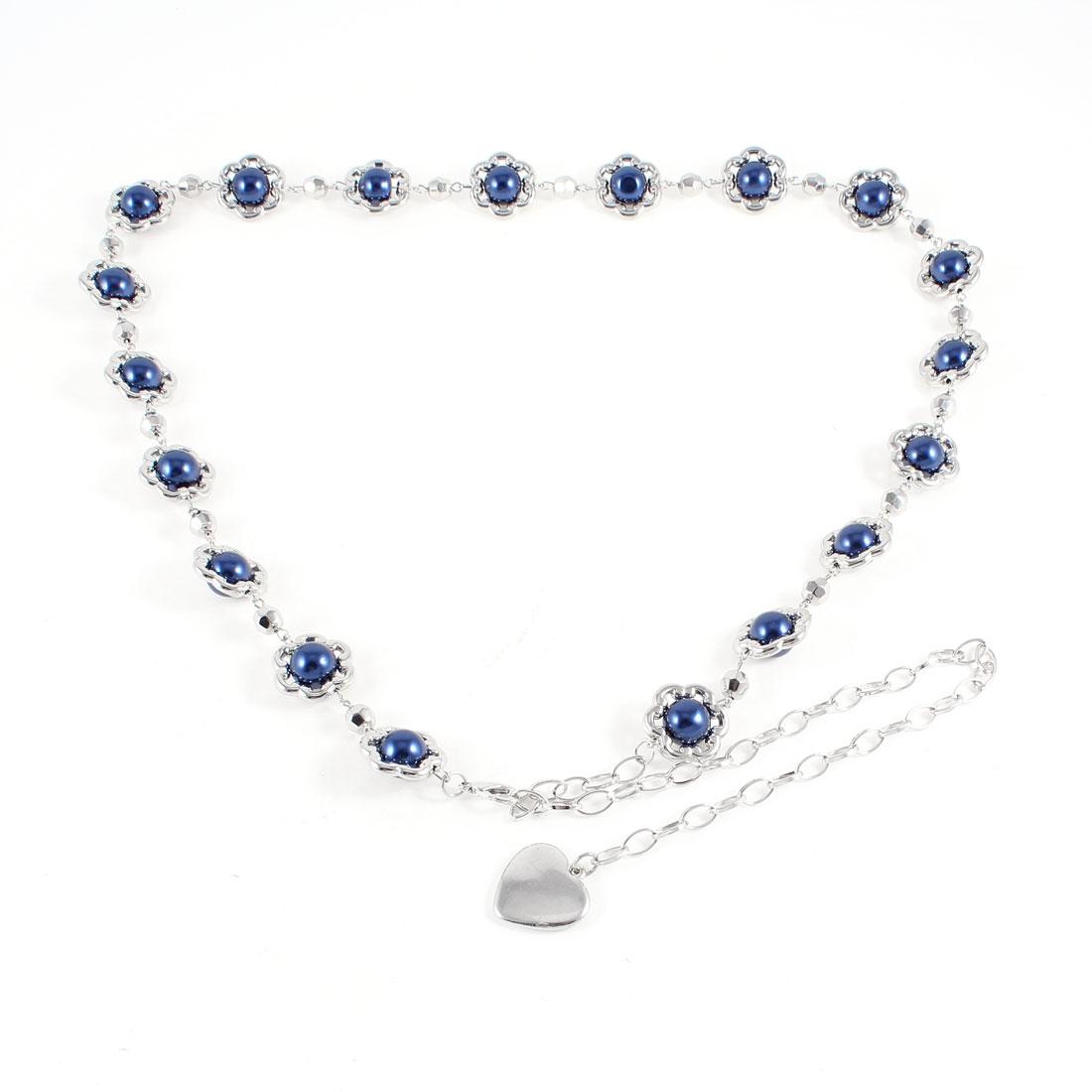 Ladies Royal Blue Round Beads Detail Lobster Closure Adjustable Slim Chain Belt