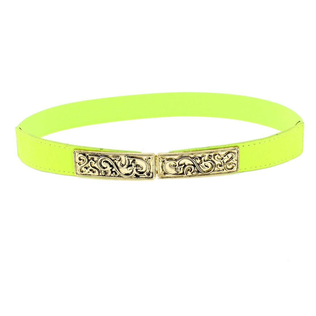 Woman Metal Floral Vines Carved Textured Waistband Cinch Waist Belt Yellowgreen
