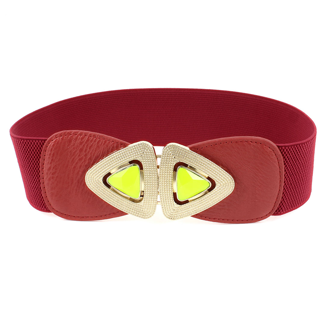 Interlocking Buckle 6cm Wide Red Elastic Waist Belt Band Waistband for Lady