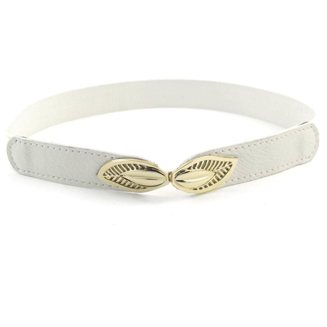 Woman Metal Leaf Shape Interlocking Buckle 2.5cm Width White Stretchy Cinch Belt