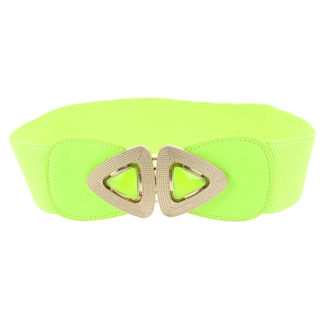 Metal Interlocking Buckle 6cm Wide Green Elastic Waist Belt Band Waistband