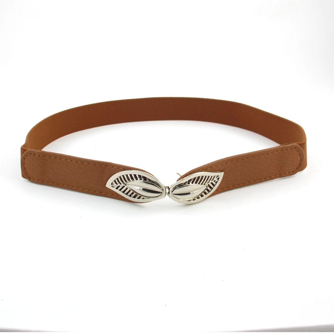 Ladies Litchi Faux Leather Buckle Part Solid Brown Cinch Belt Blouse Decoration