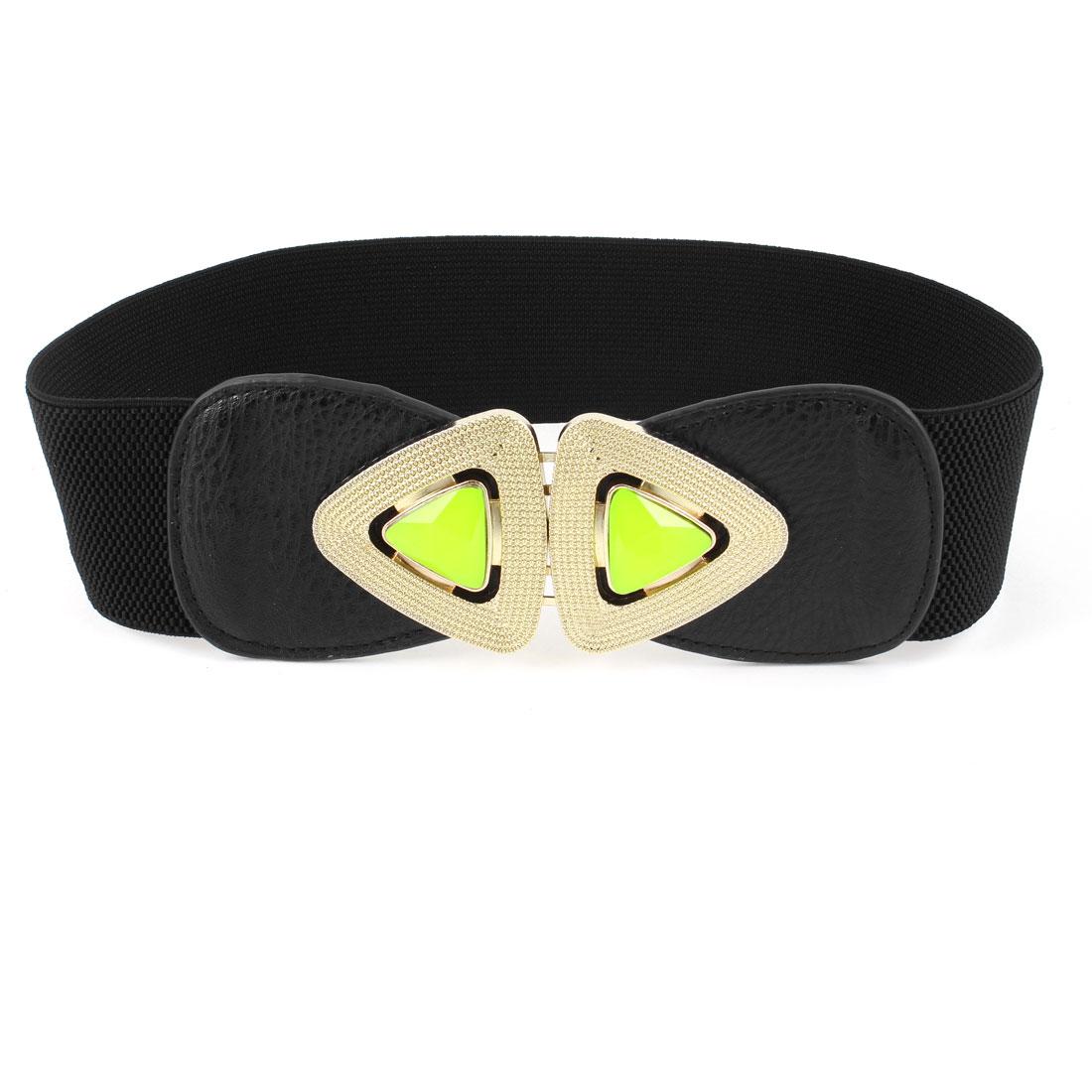 Lady Faux Leather Front Plastic Faceted Bead Black Interlock Buckle Waist Belt