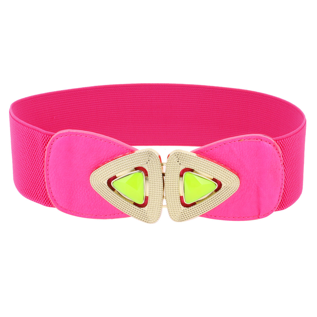 Lady Faux Leather Front Plastic Faceted Bead Interlock Buckle Waist Belt Fuchsia