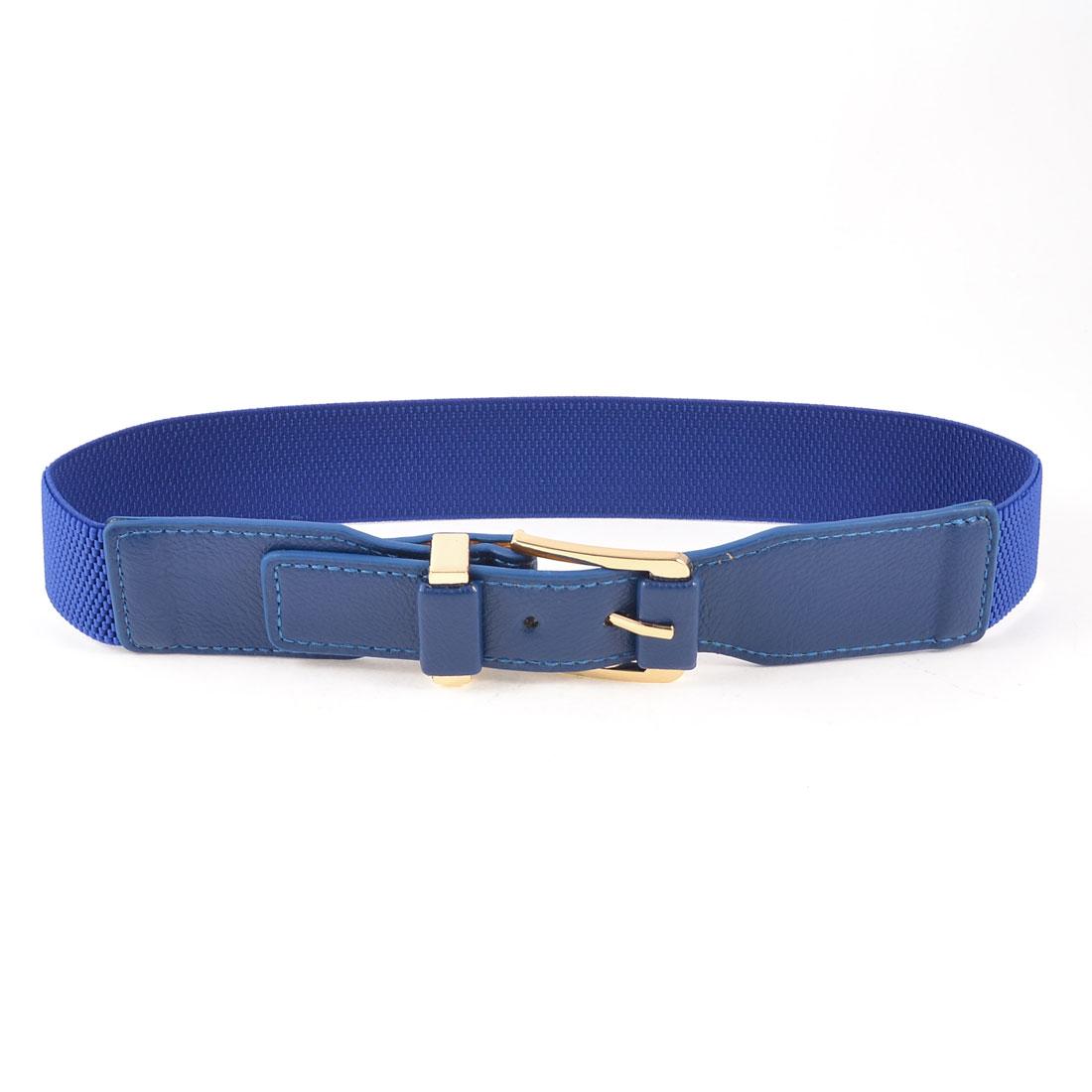 Gold Tone Metallic Single Prong Buckle Blue Cinch Belt for Ladies