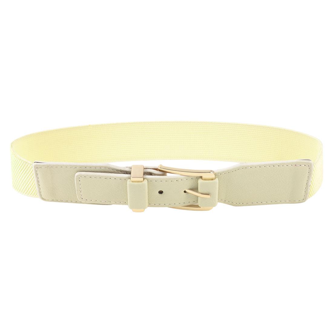 Gold Tone Metallic Single Prong Buckle Beige Cinch Belt for Ladies