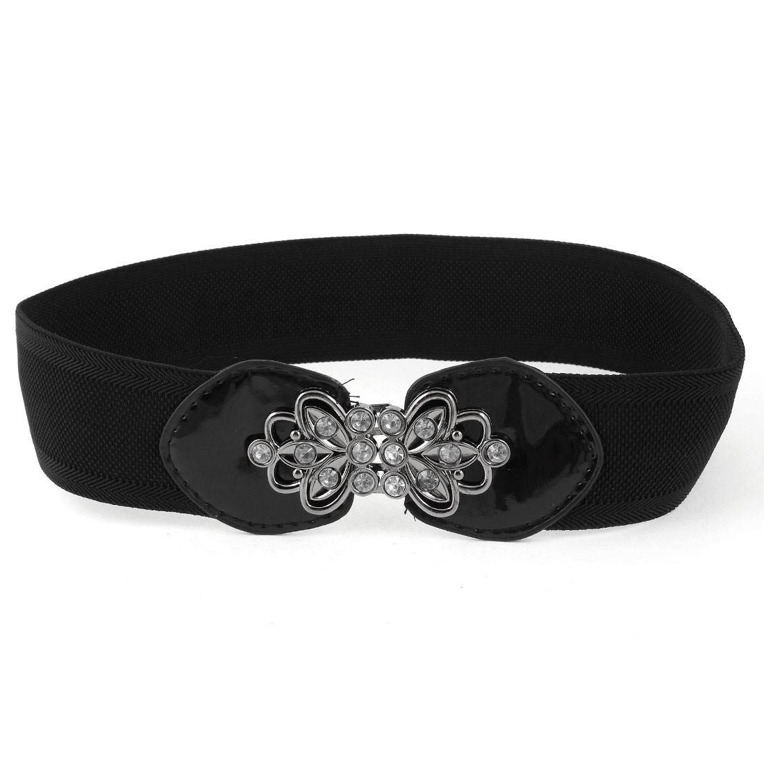 Faux Crystal Inlaid Interlocking Buckle Cinch Waist Belt Black for Woman Ladies