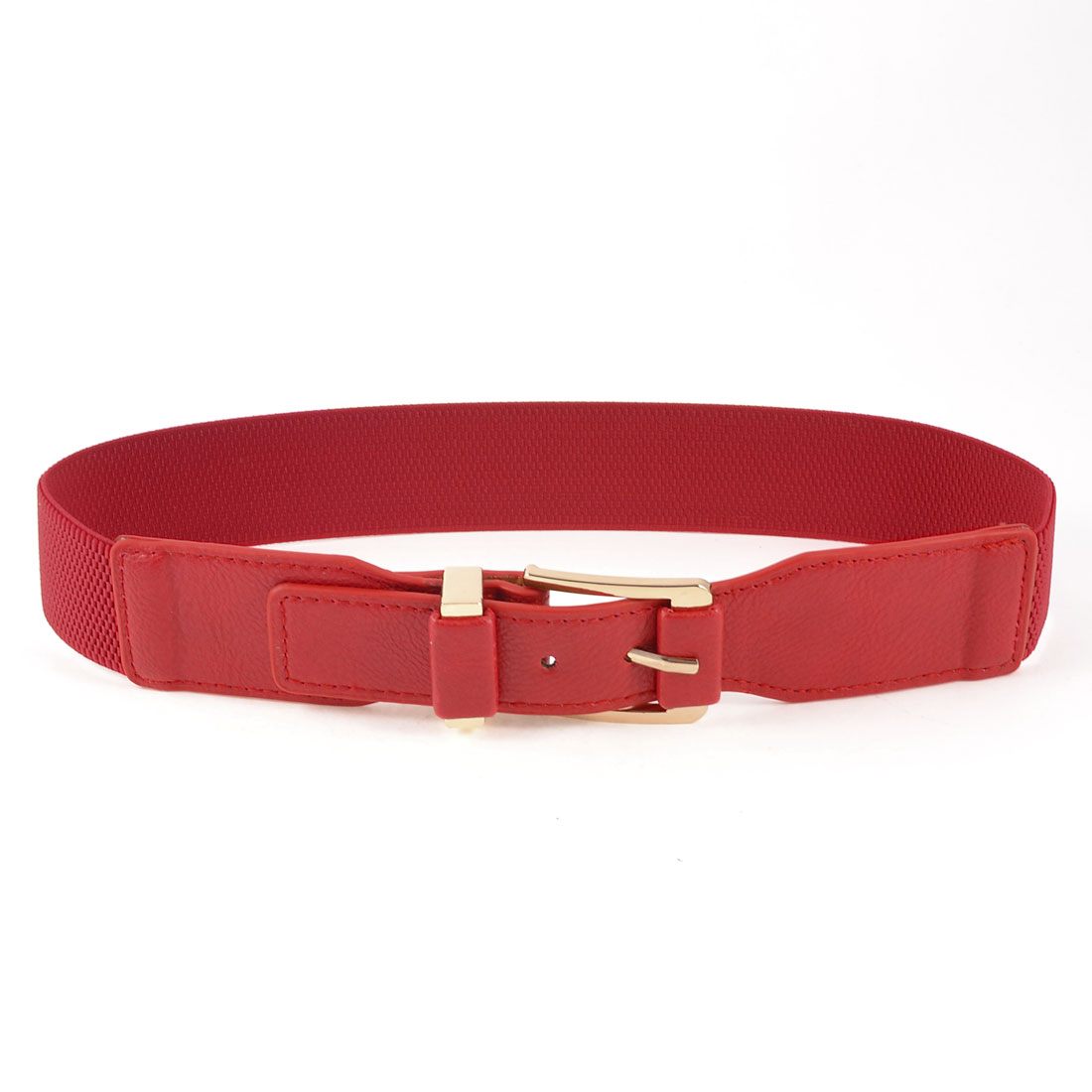 Faux Leather 4cm Width Single Prong Buckle Stretchy Cinch Belt Band for Lady