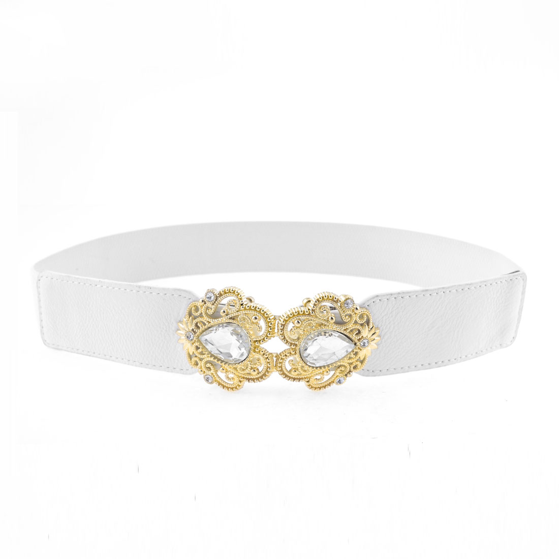 Woman Litchi Faux Leather Plastic Crystal Decor Flower Buckle Cinch Belt White