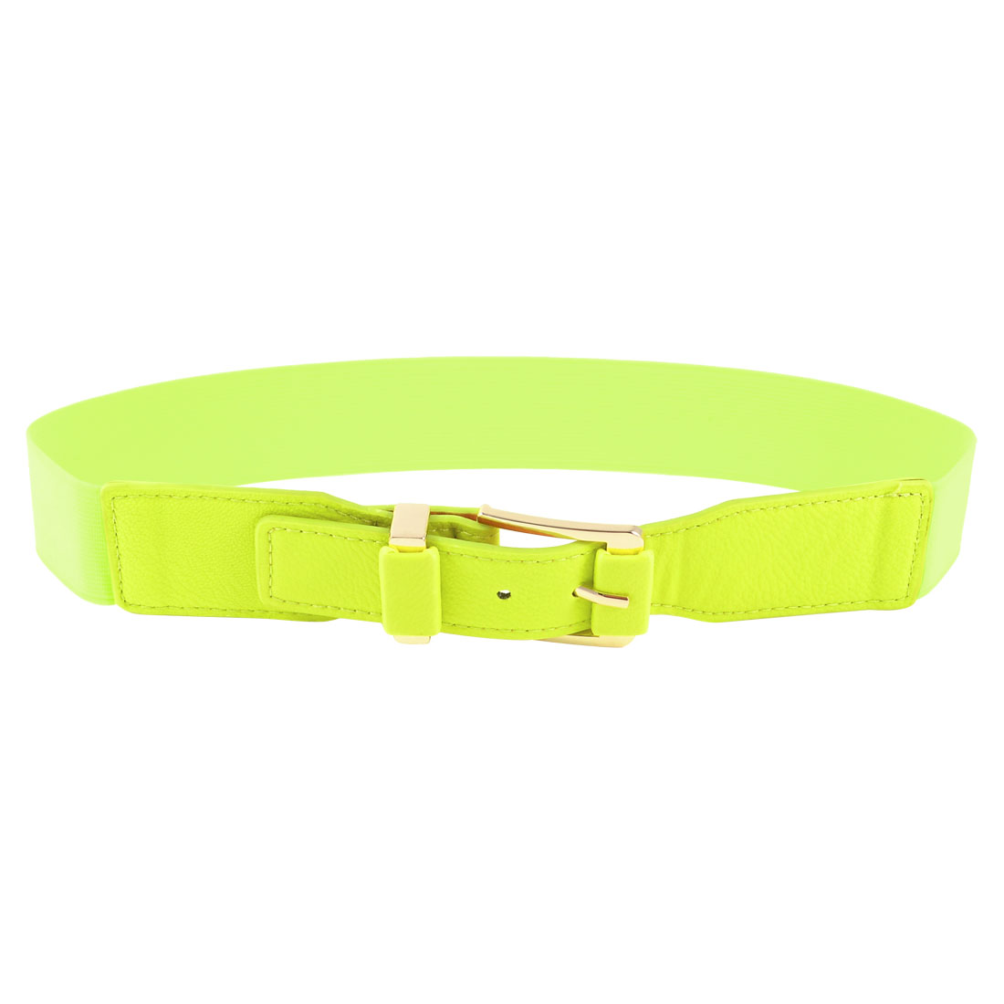 Single Pin Buckle 4cm Wide Elastic Waist Cinch Belt Yellow Green for Woman