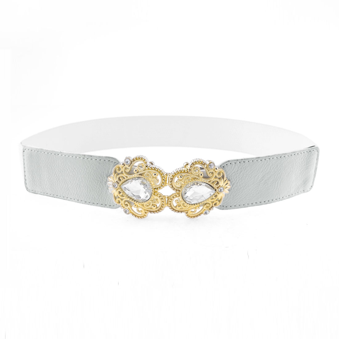 Women Gold Tone Symmetric Floral Interlock Buckle Silver Tone Elastic Cinch Belt