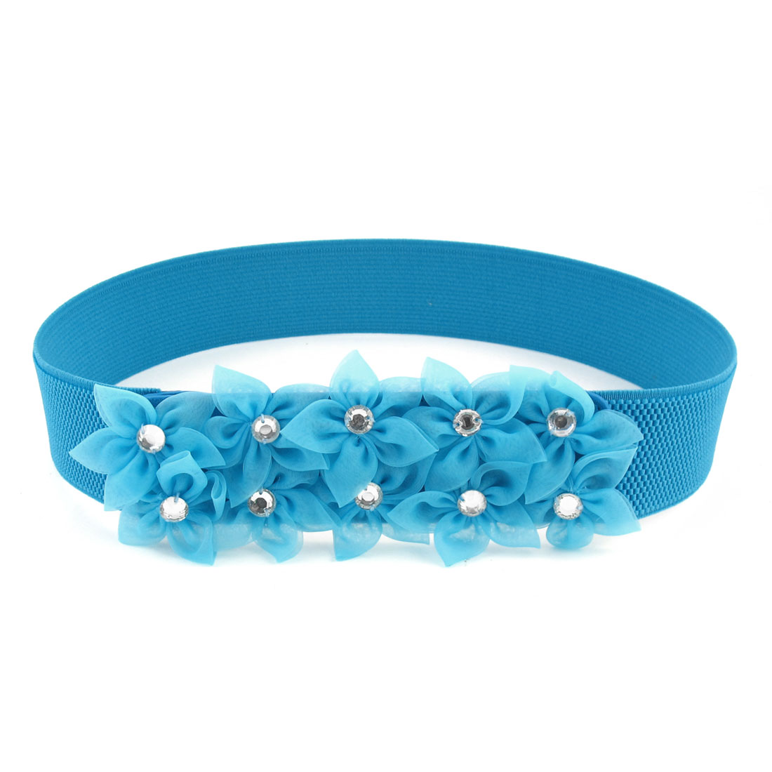 Blue Organza Flowers Decor Buckle Part 3.8cm Wide Stretchy Waist Belt for Women