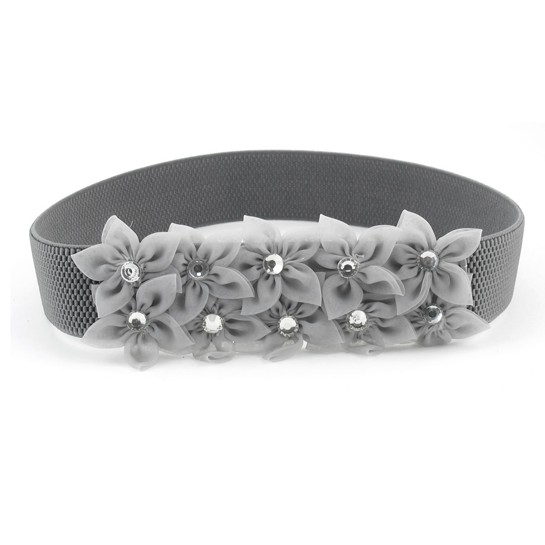 Woman Faceted Crystal Inlaid Gray Flowers Press Button Buckle Elastic Waist Belt