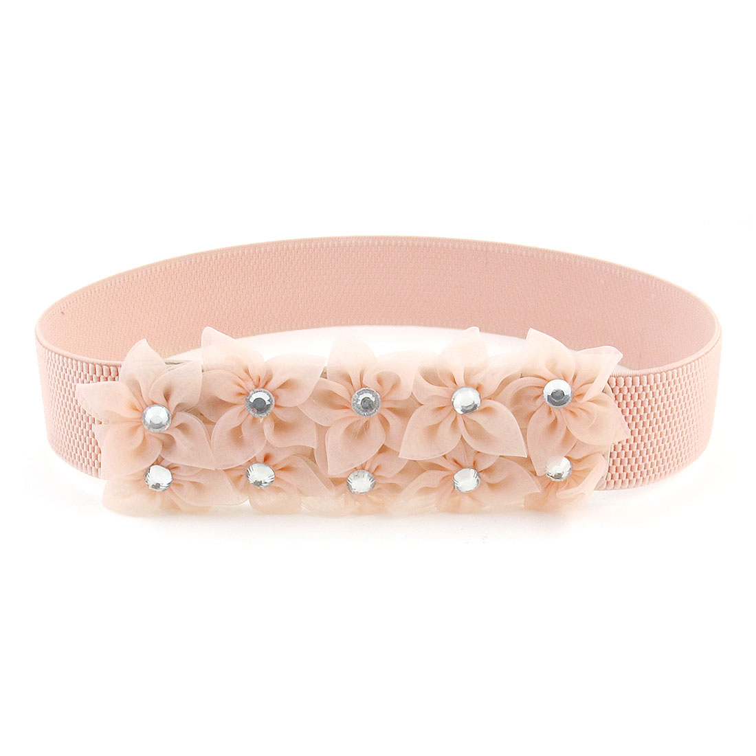 Woman Faceted Crystal Inlaid Flowers Press Button Buckle Elastic Waist Belt Pink