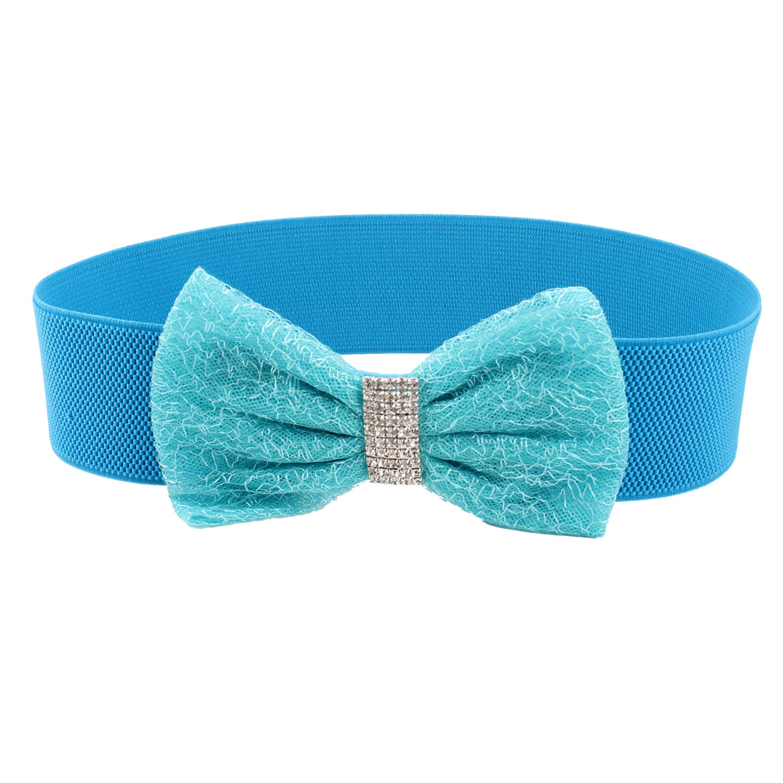 Bowknot Shiny Rhinestone 5.5cm Wide Stretchy Waist Belt Blue for Ladies