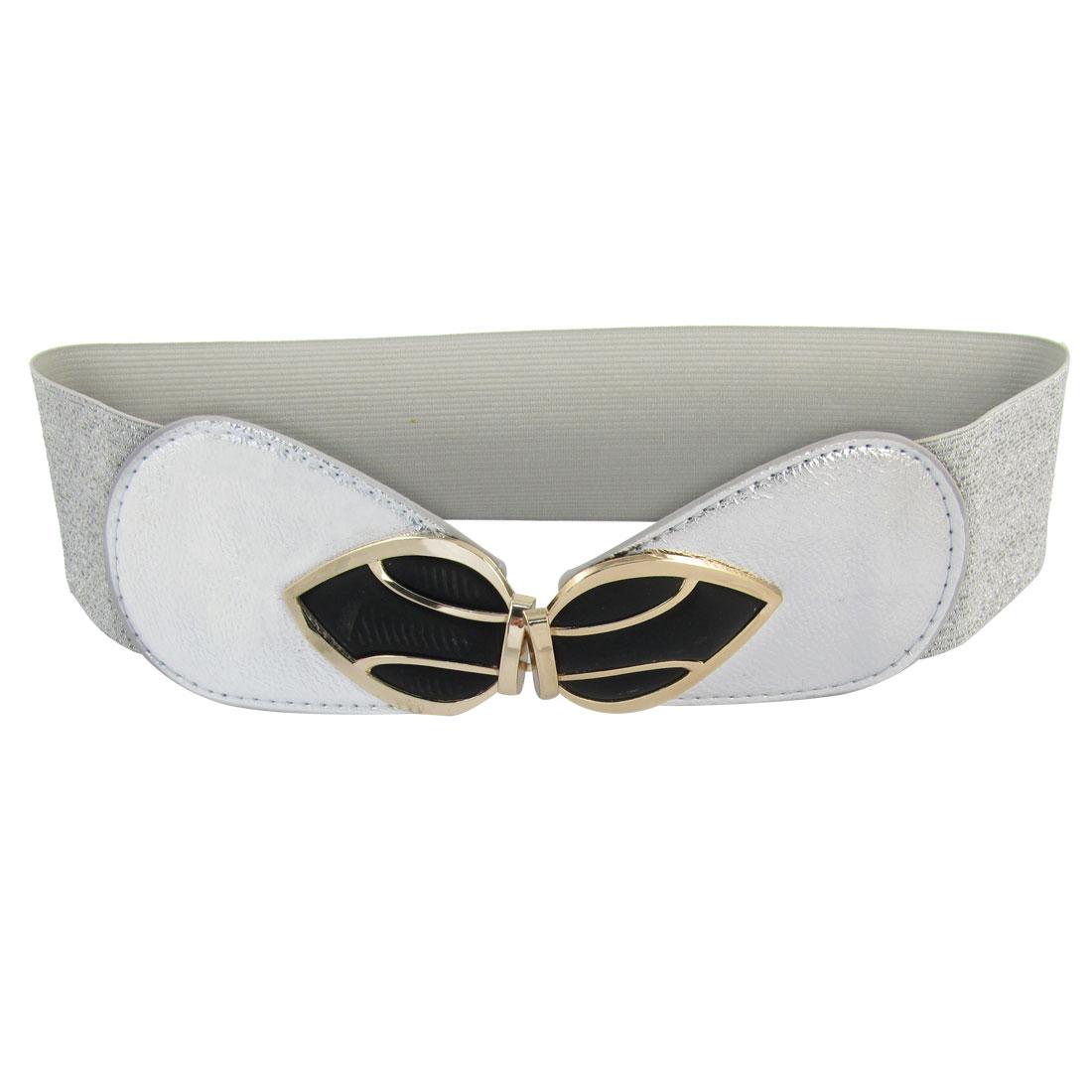 Bowknot Interlock Buckle 6cm Wide Elastic Waist Belt Band Waistband Silver Tone