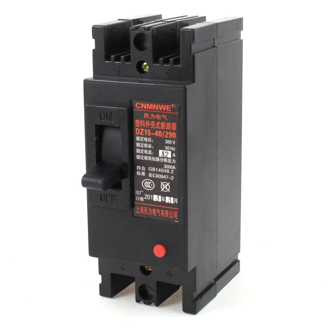 AC 380V 32A 2 Poles 2P Overload Protector MCB Mini Circuit Breaker