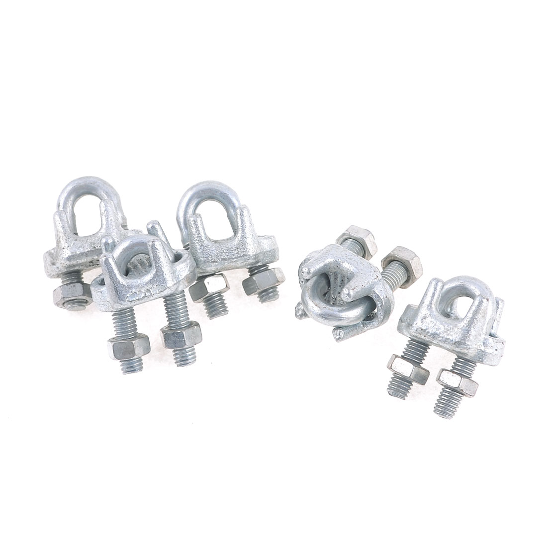 "Metal Saddle 5mm 1/5"" Wire Rope Clip U Bolt Clamp Fastener 5 Pcs"