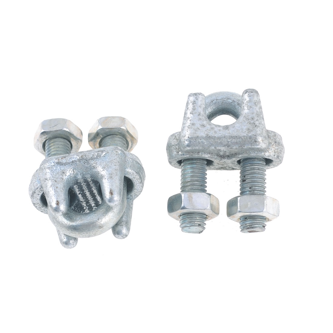 "2 Pcs Silver Tone Screwed Fastener Clamp Clip for 8mm 5/16"" Wire Rope"