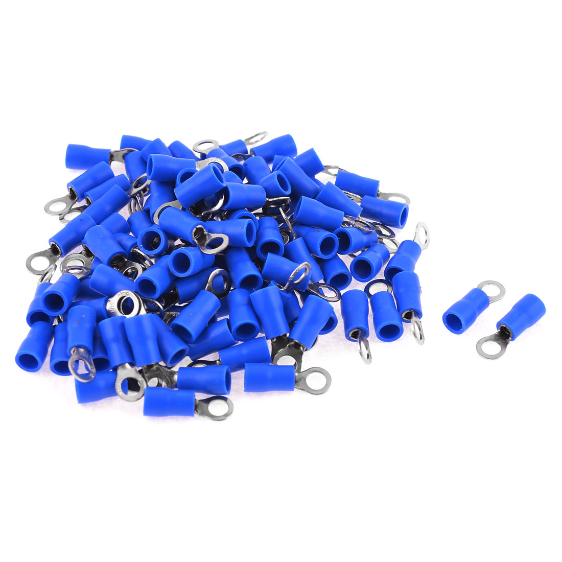100 Pcs Blue PVC Insulating Sleeve Ring Terminals Cable Lug RV2-4 AWG 16-14