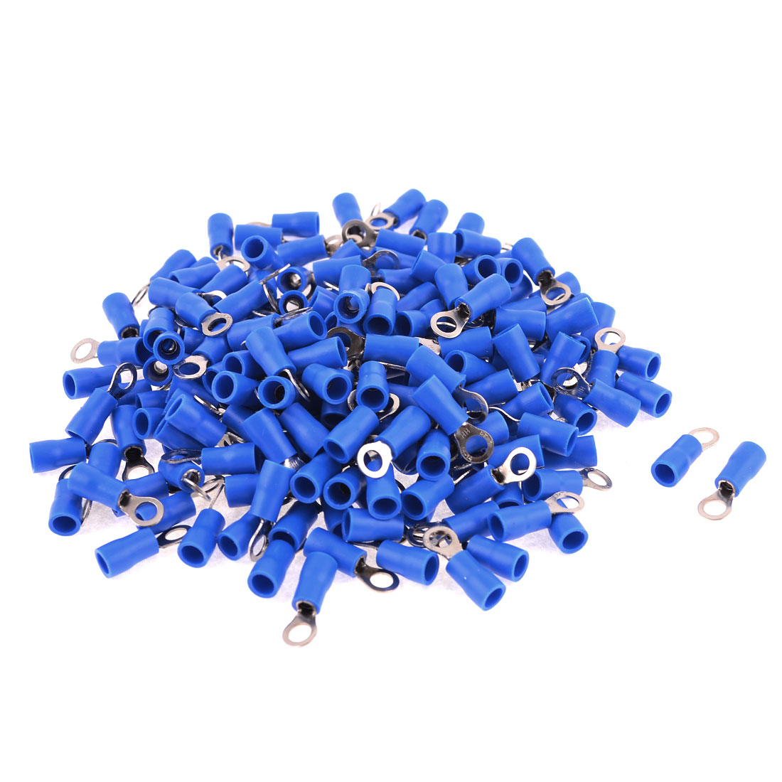 200 Pcs RV2-4 AWG 16-14 Blue PVC Cap Non Insulated Ring Terminals Connector