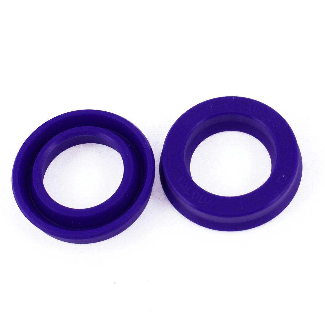 2 Pcs Blue PU 30mm x 45mm x 10mm Double Lip Sealing Dust Oil Seal