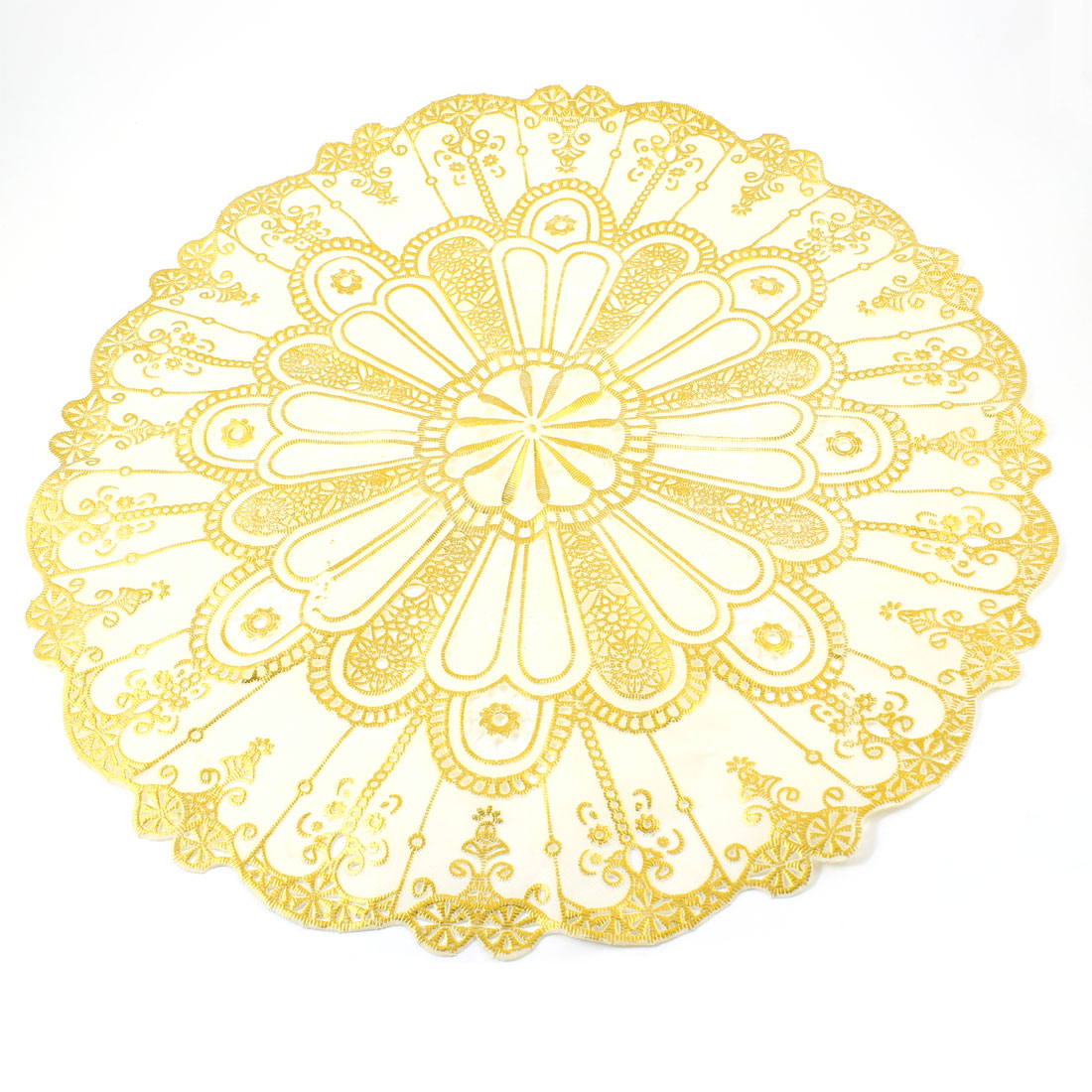 Home Family Gold Tone Beige Flower Decor Rubber Round Tea Table Pad Mat