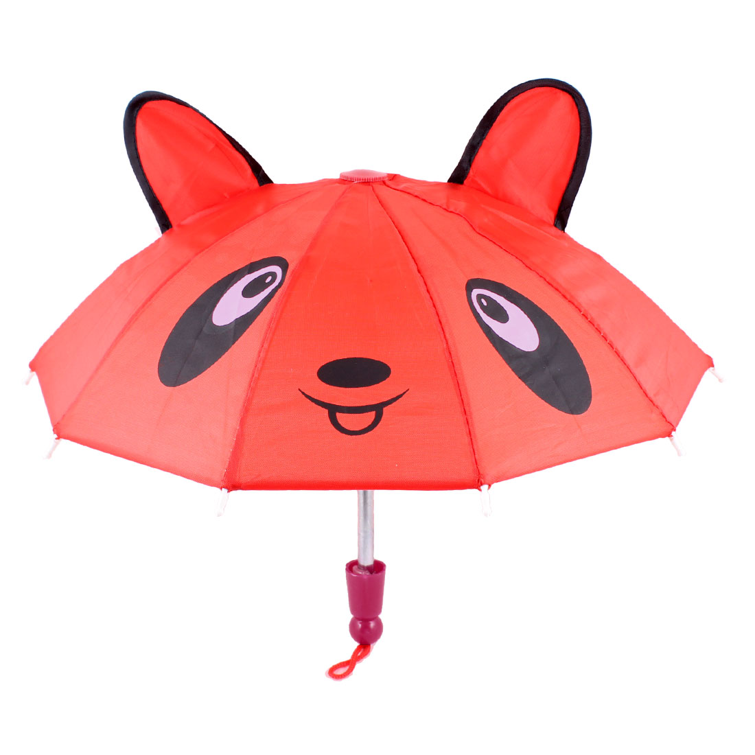 Kids Gift Cartoon Bear Head Pattern Foldable Umbrella Toy Red
