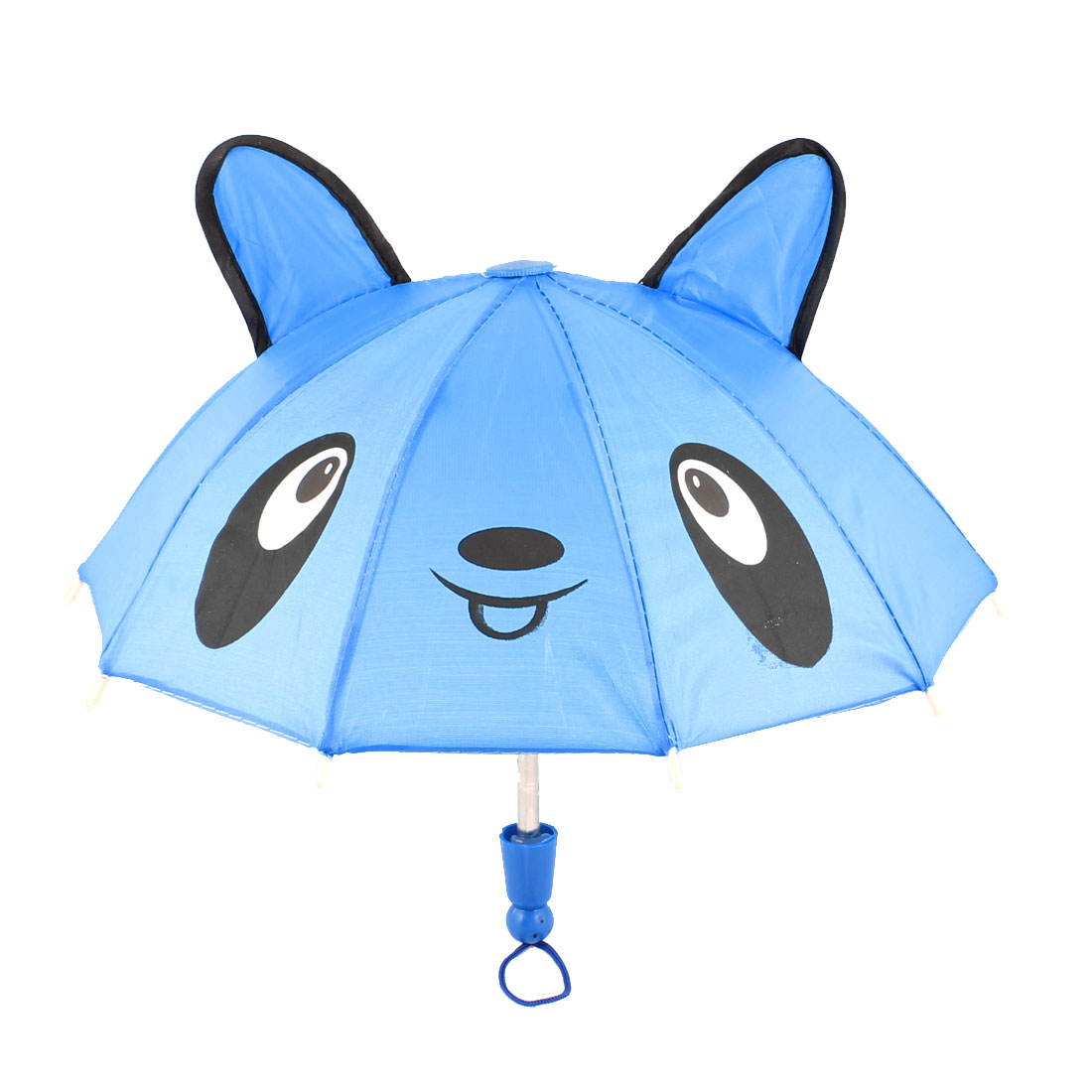 Children Bear Head Print Nylon Cap Mini Rain Umbrella Toy Blue