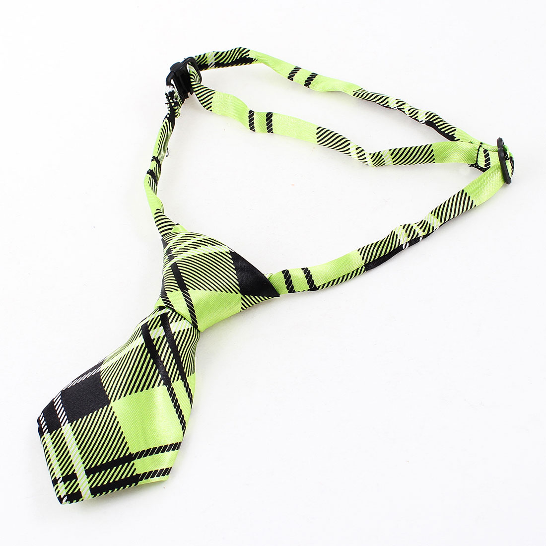 Black Green Check Print Adjustable Cat Pet Adorable Grooming Tie Necktie