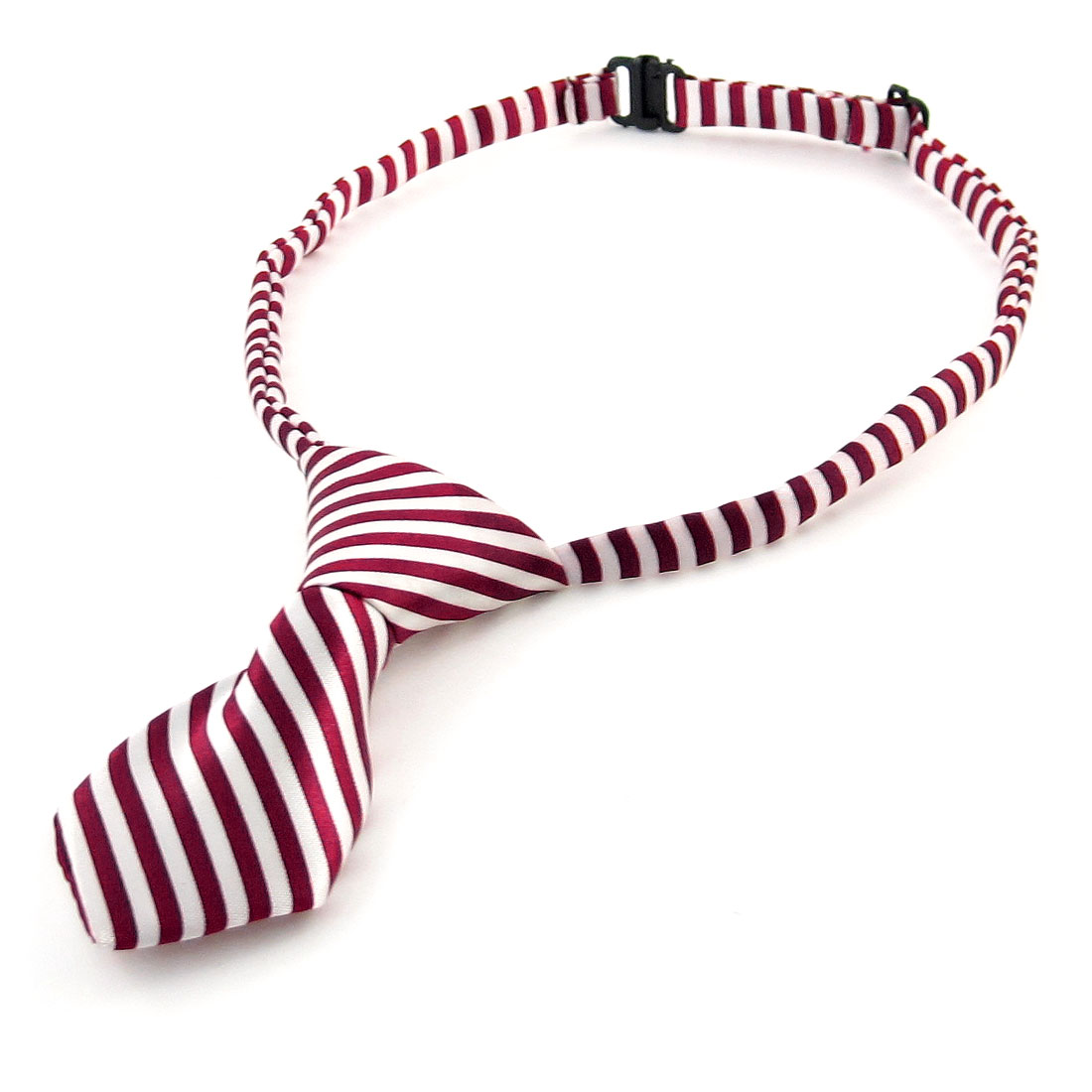 Stripe Printed Dog Cat Pet Collar Accessory Bow Tie Necktie Burgundy White