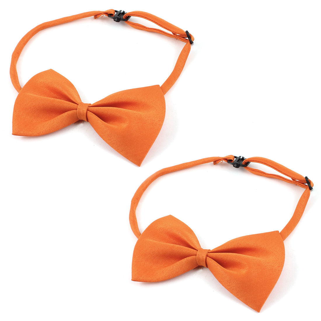 Dog Cat Pet Collar Accessory Bow Tie Necktie Orange 2 Pieces