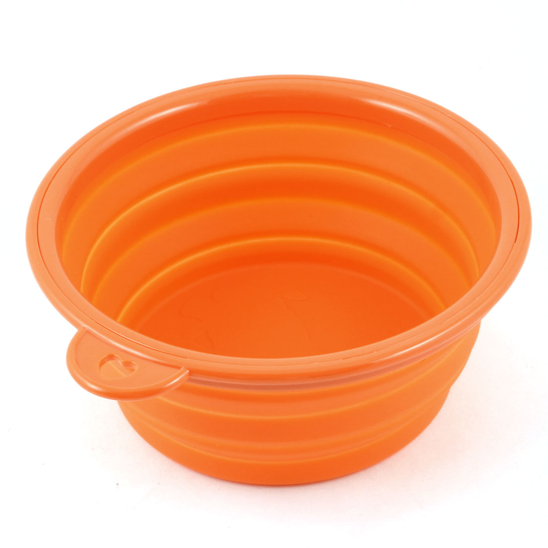 Travel Folding 12cm Dia Silicone Cat Puppy Dog Pet Water Food Drink Bowl Orange