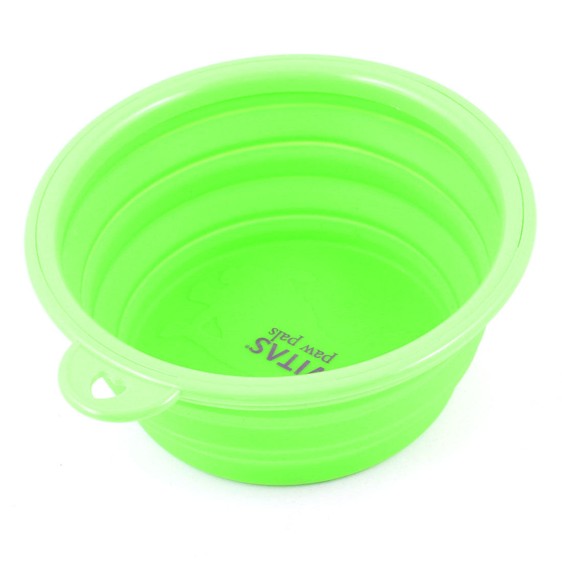 Travel Folding 12cm Dia Silicone Cat Puppy Dog Pet Water Food Drink Bowl Green