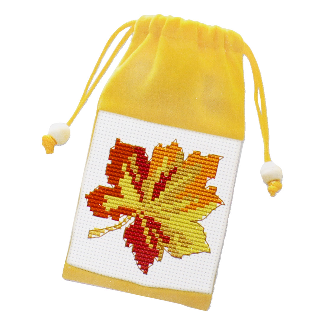Leave Pattern Cross Stitch Counted Handmade Kit Cell Phone Bag Pouch