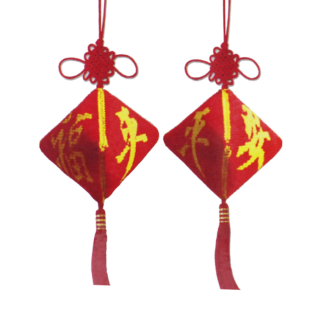 Red Yellow Safeness Lucky FU Pattern Car Decor Pendant Counted Cross Stitch
