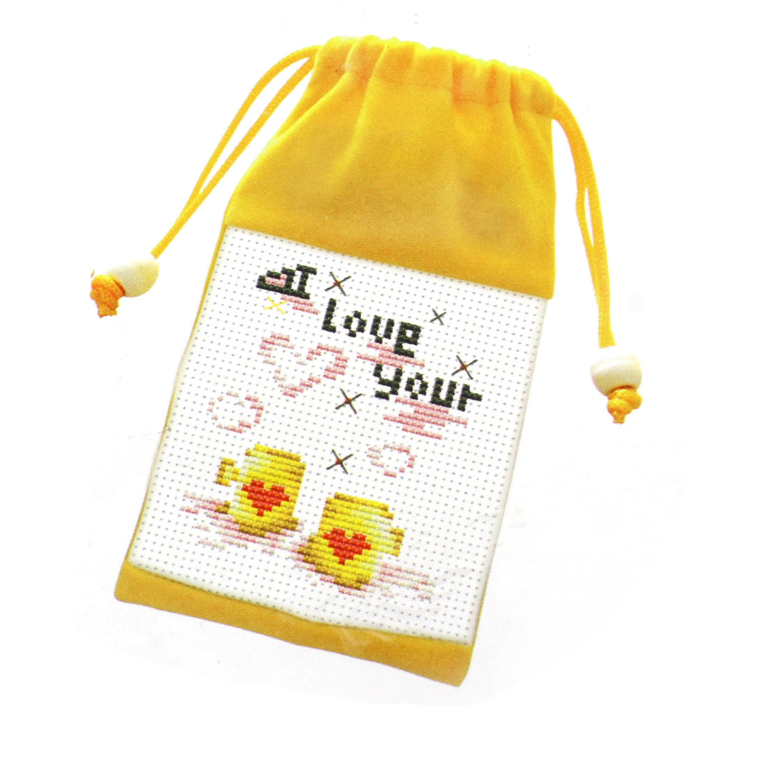 Letter Heart Printed Cross Stitch Counted Kit Cell Phone Bag Holder