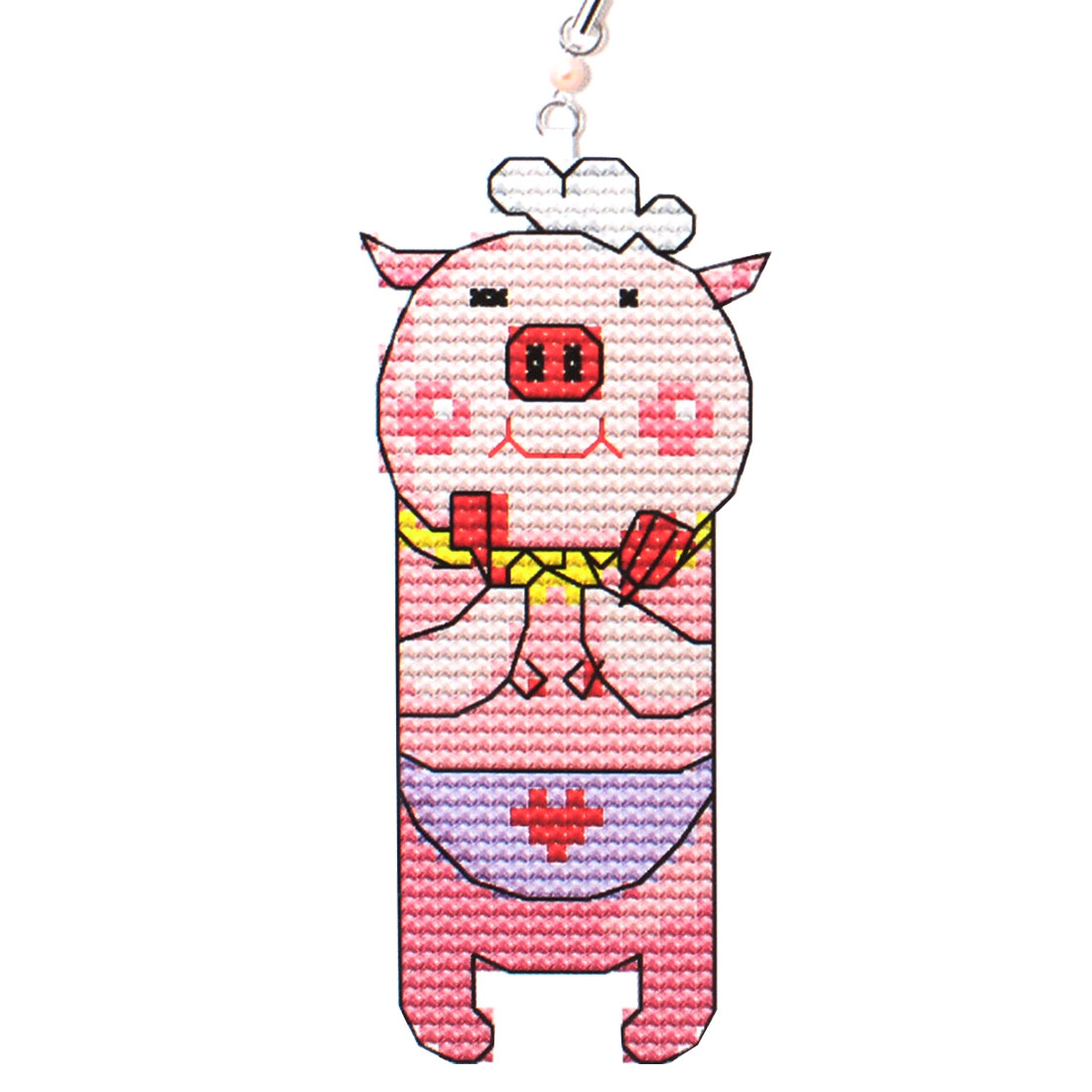 Woman Pink Yellow Pig Printed Handbag Pendant Cross Stitch Counted Kit