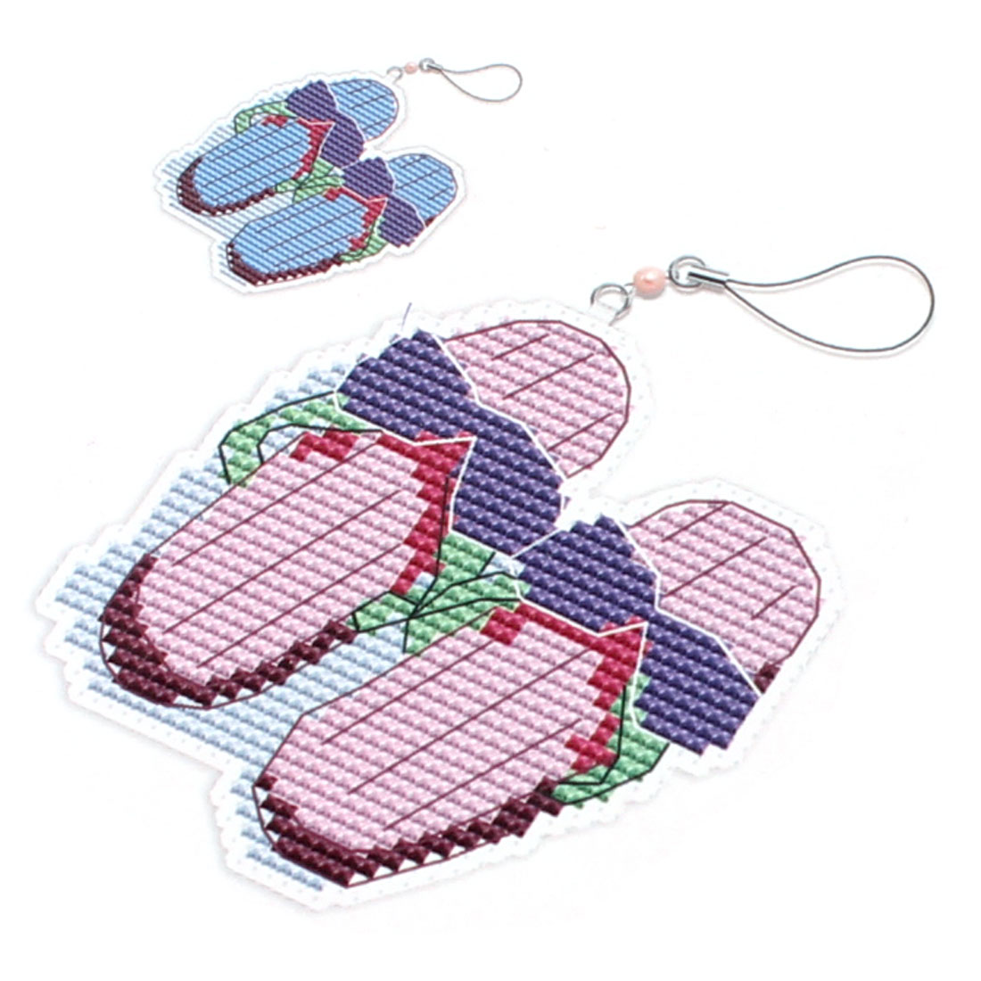 Pair Eyeglasses Slipper Pattern Phone Pendant Cross Stitch Counted Handmade Kit