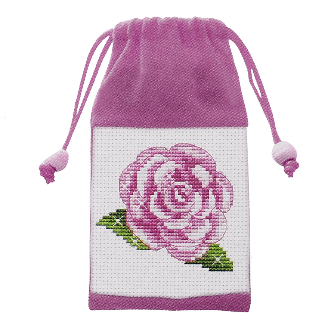 Rose Floral Print Pull String Phone Bag Holder Cross Stitch Counted Handmade Kit