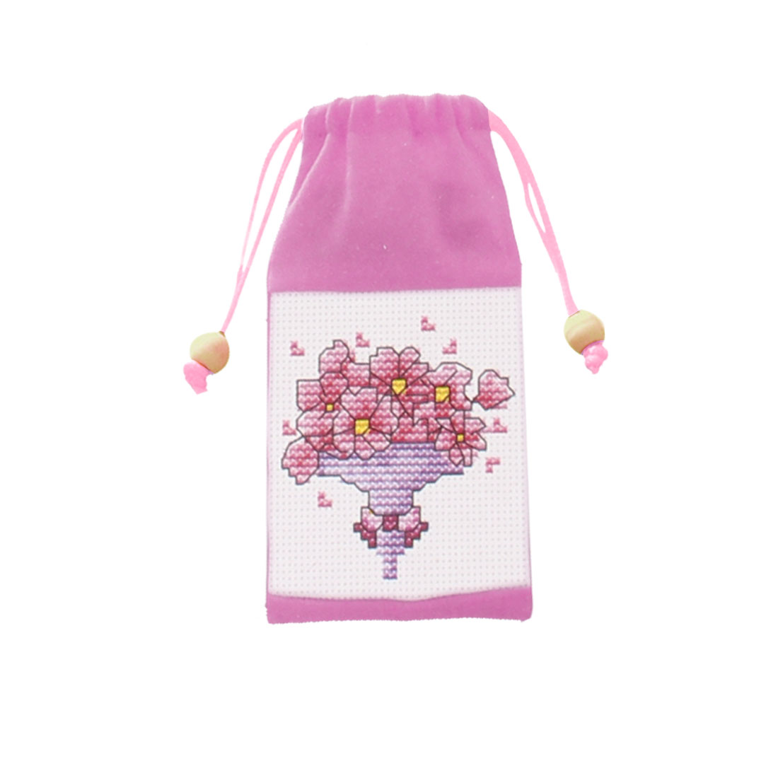 Floral Pattern Cross Stitch Counted Handmade Kit Cell Phone Bag Pouch