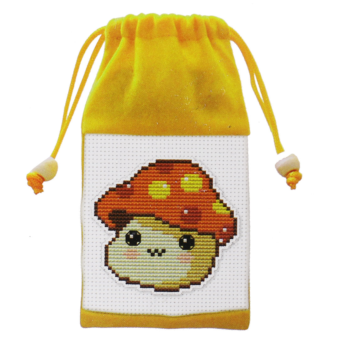 Mushroom Head Pattern Cross Stitch Counted Handmade Kit Cell Phone Bag Pouch