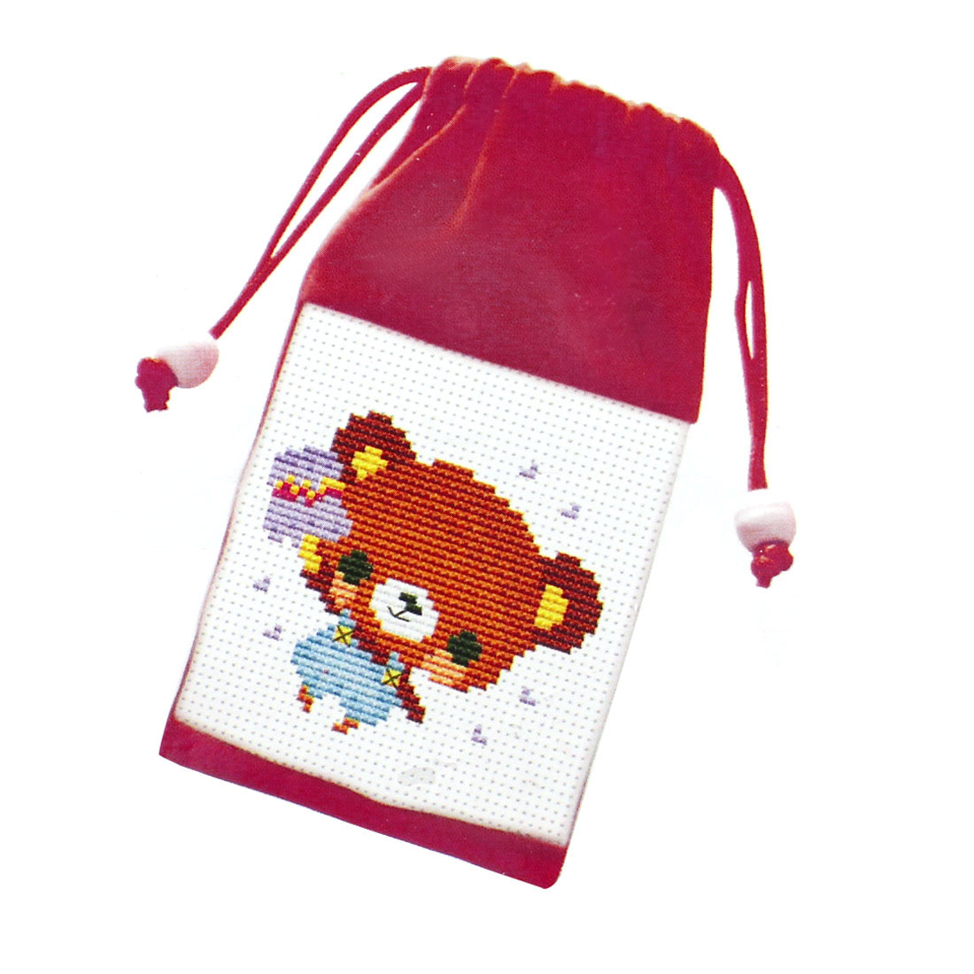 Bear Pattern Cross Stitch Counted Handmade Kit Cell Phone Bag Pouch