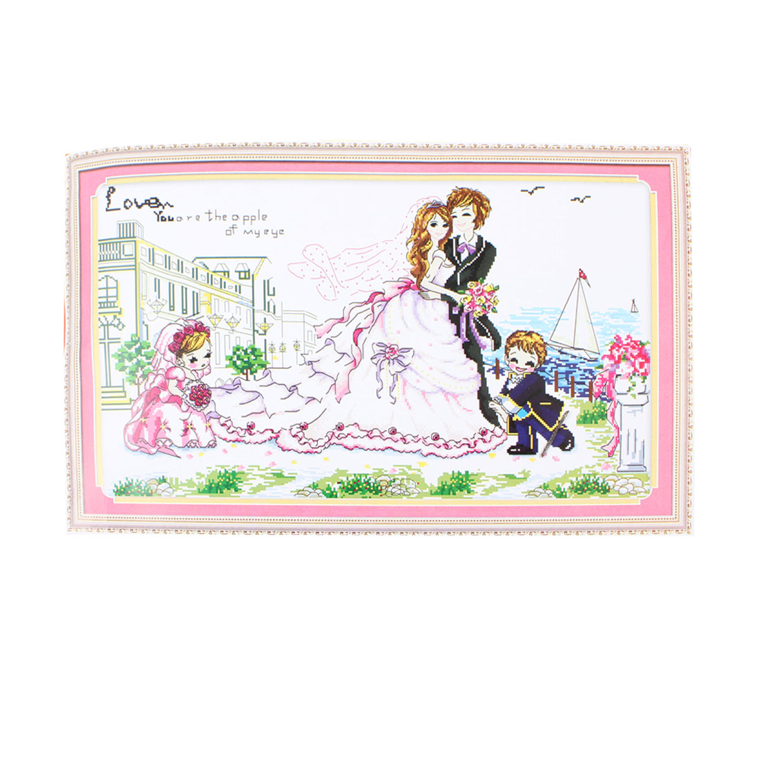 Handwork Stamped Cross Stitch Bride Groom Kids Pattern Design Counted Kit