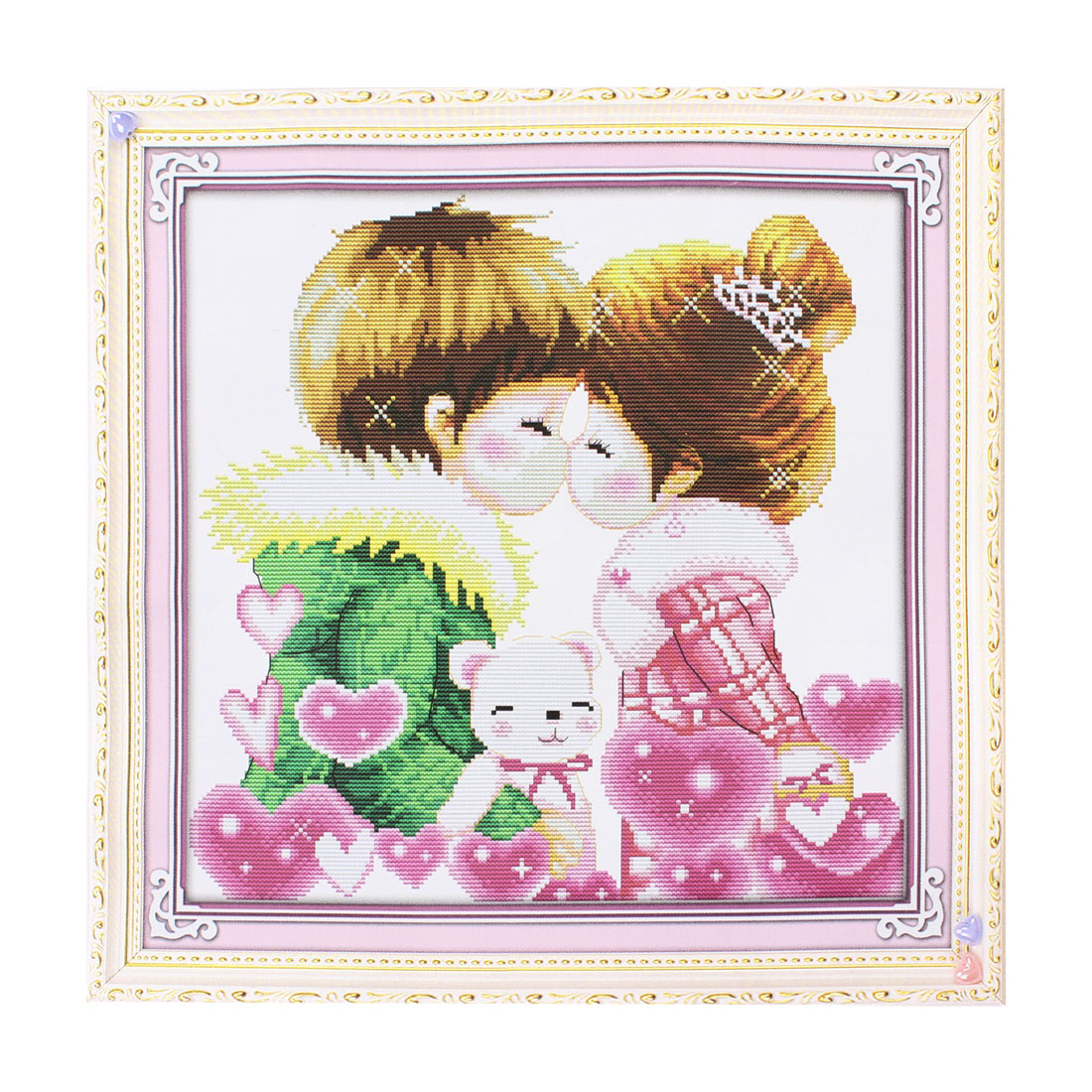 Boy Girl Heart Print Stamped Cross Stitch Counted Kit for Lady Woman