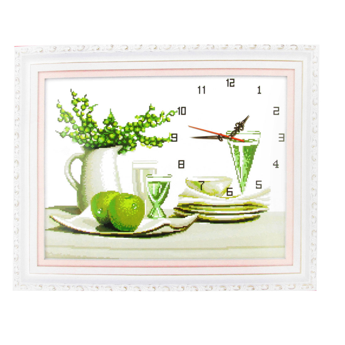 Handwork Stamped Cross Stitch Cup Flower Clock Pattern Design Counted Kit