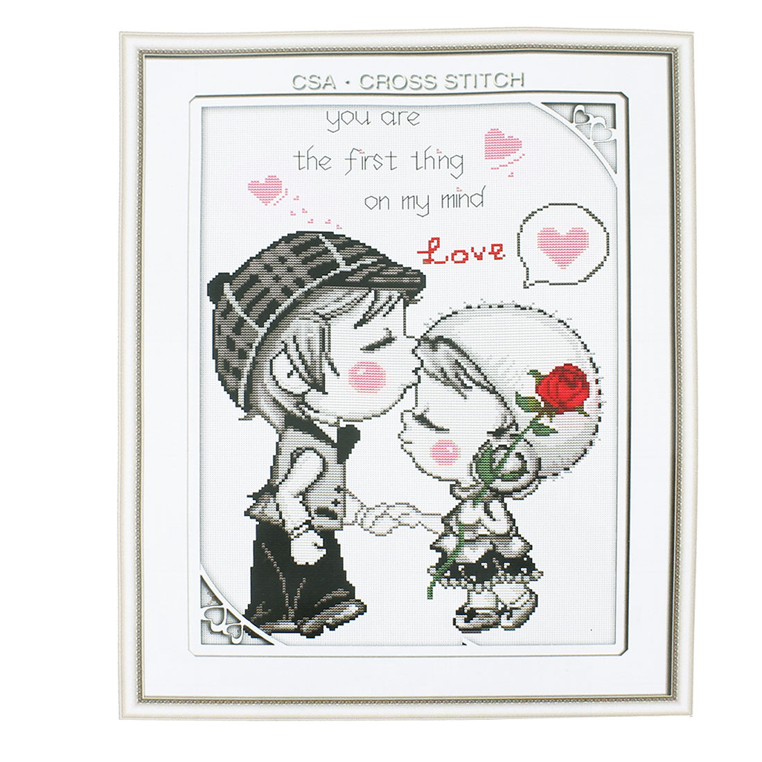Boy Girl Heart Printed Stamped Cross Stitch Counted Gift Handmade