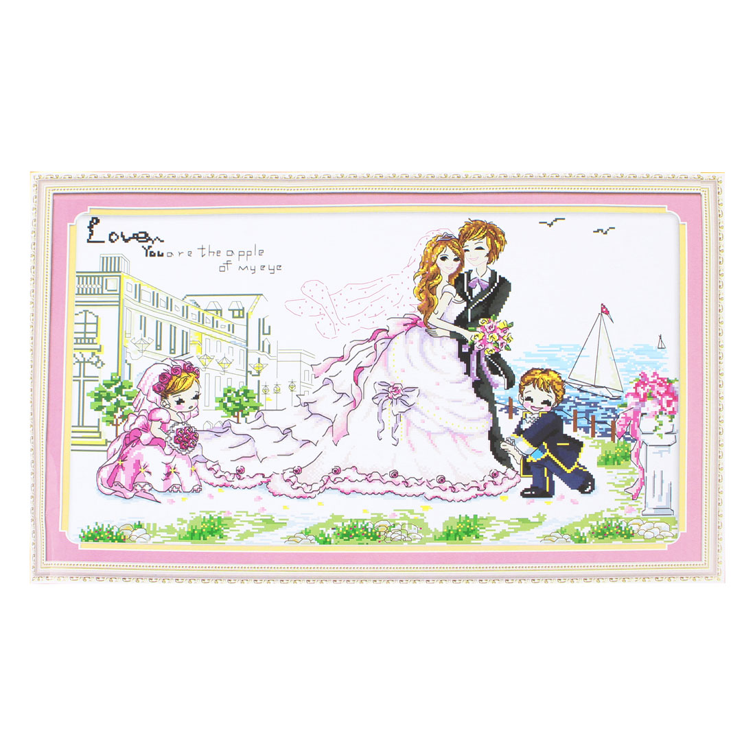 Lovers Wedding Bride Groom Children Printed Stamped Cross Stitch Counted Kit