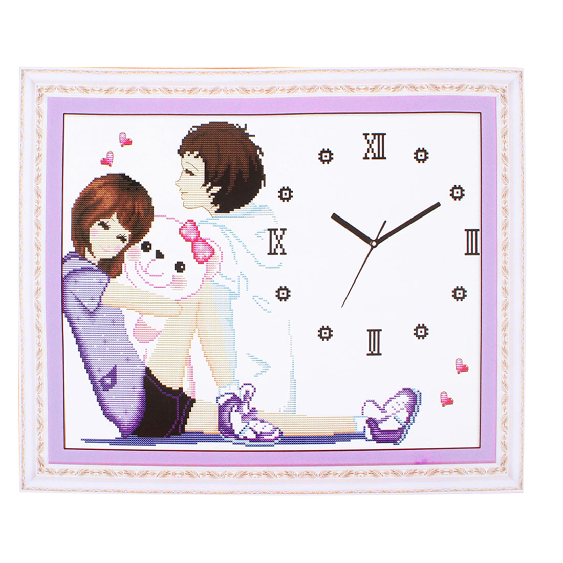 Lady Handwork Stamped Cross Stitch Boy Girl Clock Pattern Counted Kit