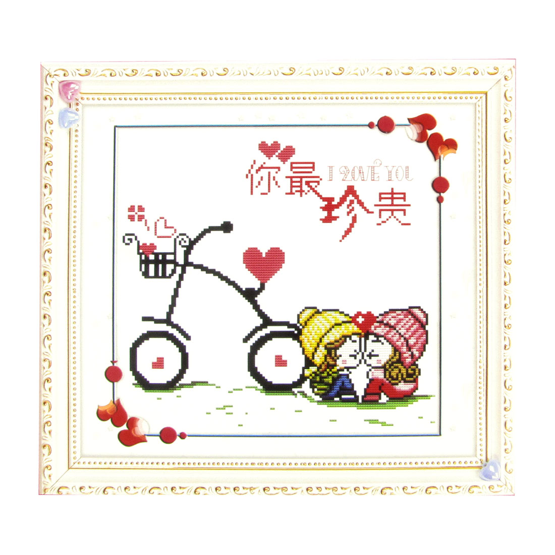 Boy Girl Heart Bike Print Stamped Cross Stitch Counted Kit for Lady Woman
